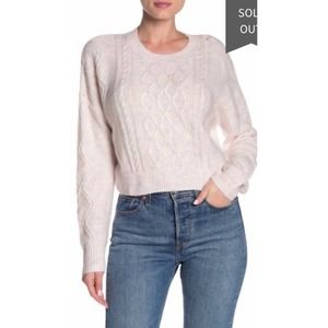 Cotton On Blush Pink Cable Knit Cropped Sweater S